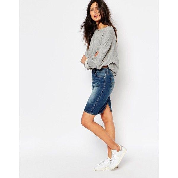 Best 25  White denim skirt ideas only on Pinterest   Denim skirt ...