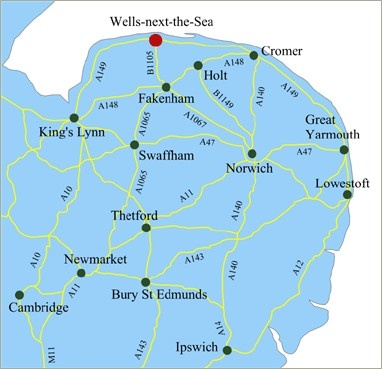 Map of Norfolk, showing Holt