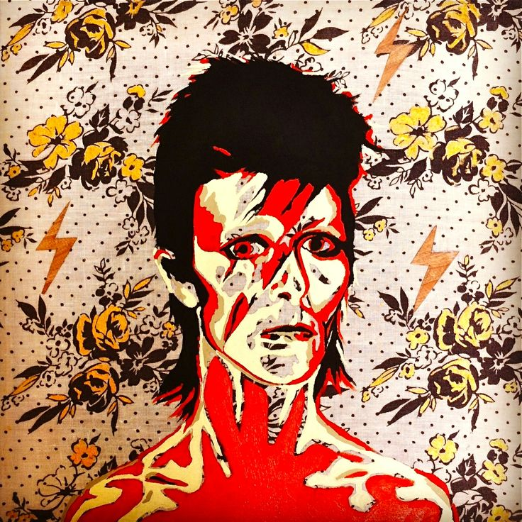 Bowie/Wood Lightning Bolts/Gold Roses/on fabric 25x25cm - last painting of 2013! x