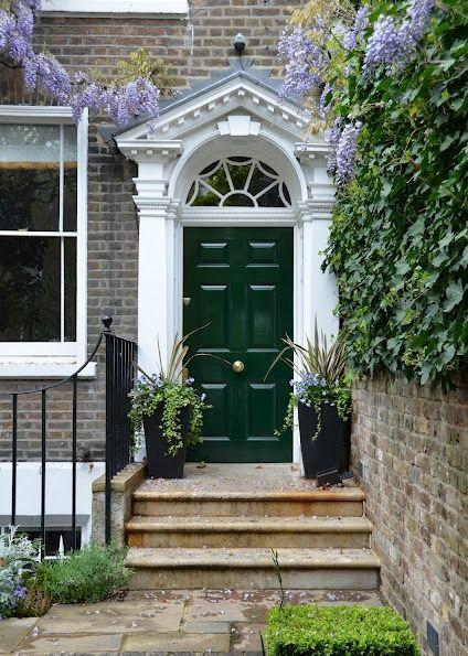London, England - front door painted British racing green