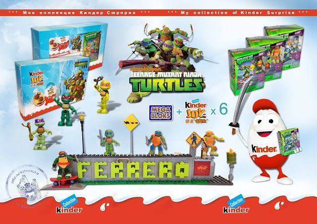 Kinder Lego Fan:    NINJA Korytnačky 2016  Ferrero vs Mega Bloks  ...