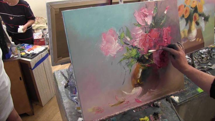 Букет мастихином, научиться писать, рисовать цветы, масляная живопись, С...