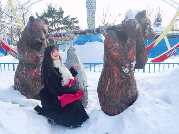 上坂すみれ認証済みアカウント @Uesakasumire  3月25日  その他   サハリン訪問のブログ書かなくては…!(画像はガガーリン公園にあった魚を運搬する二体の熊さんです)