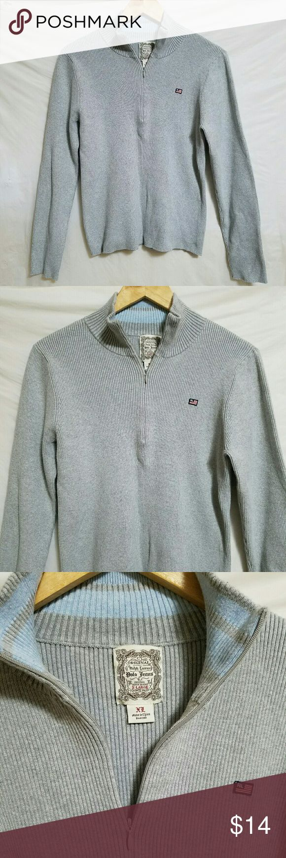 Vintage RL Polo Jeans 3/4 zip pullover Ralph Lauren Polo Jeans ribbed pullover. Excellent condition. RL American flag symbol. About 24 inches long from the top of the shoulder. Baby blue stripes inside neck. Polo by Ralph Lauren Sweaters