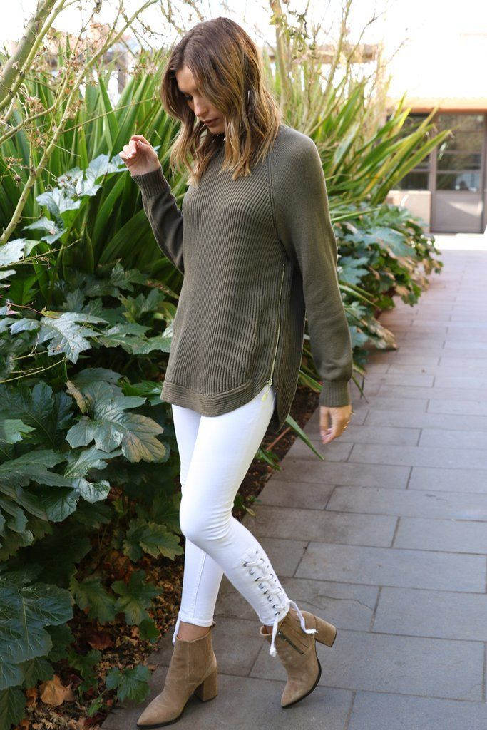 Khaki rib knit from Lost in Lunar featuring side zips.