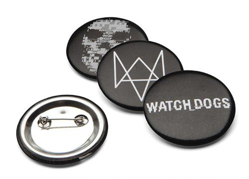 """*Includes 4x Watch Dog pins *Featuring game logo, Fox logo, Zero logo and DedSec skull *Officially licensed *Each pin measures 1.5"""" in diameter *Brand new"""