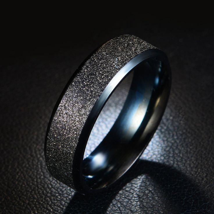 Stainless Steel Frosted Rainbow Color Black Couple Ring at Banggood