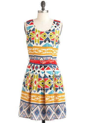 Adobe Art Show Dress - Mid-length, Multi, Print, Pleats, Party, A-line, Sleeveless, Summer, Belted, Folk Art