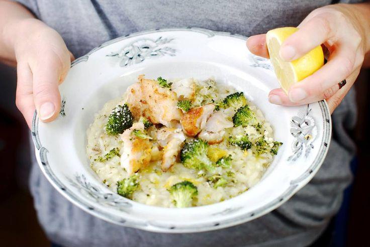 Gebakken kabeljauwfilet met risotto van artisjok en geroosterde broccoli
