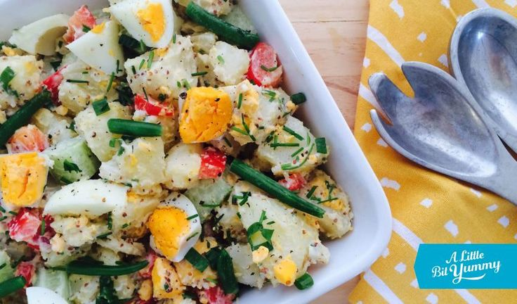 Potato egg salad - This simple low FODMAP potato & egg salad makes a nutritious and delicious lunch or side salad.
