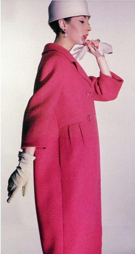 1958 Renée Breton in a sculptural geranium tweed coat by Ben Zuckerman, photo by Louise Dahl-Wolfe, Harper's Bazaar,