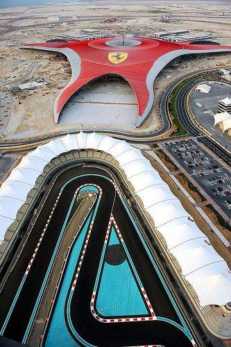 Ferrari World on Yas Island beside the Yas Marina Circuit, racetrack for Formula 1™ in Abu Dhabi, UAE