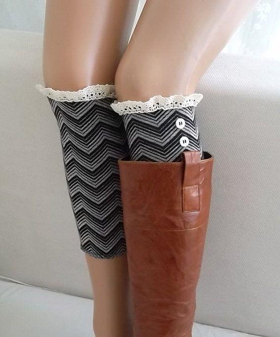 Chevron-Boot Cuffs -Leg warmers-Boot Socks-socks-lace and button boot cuffs womens socks