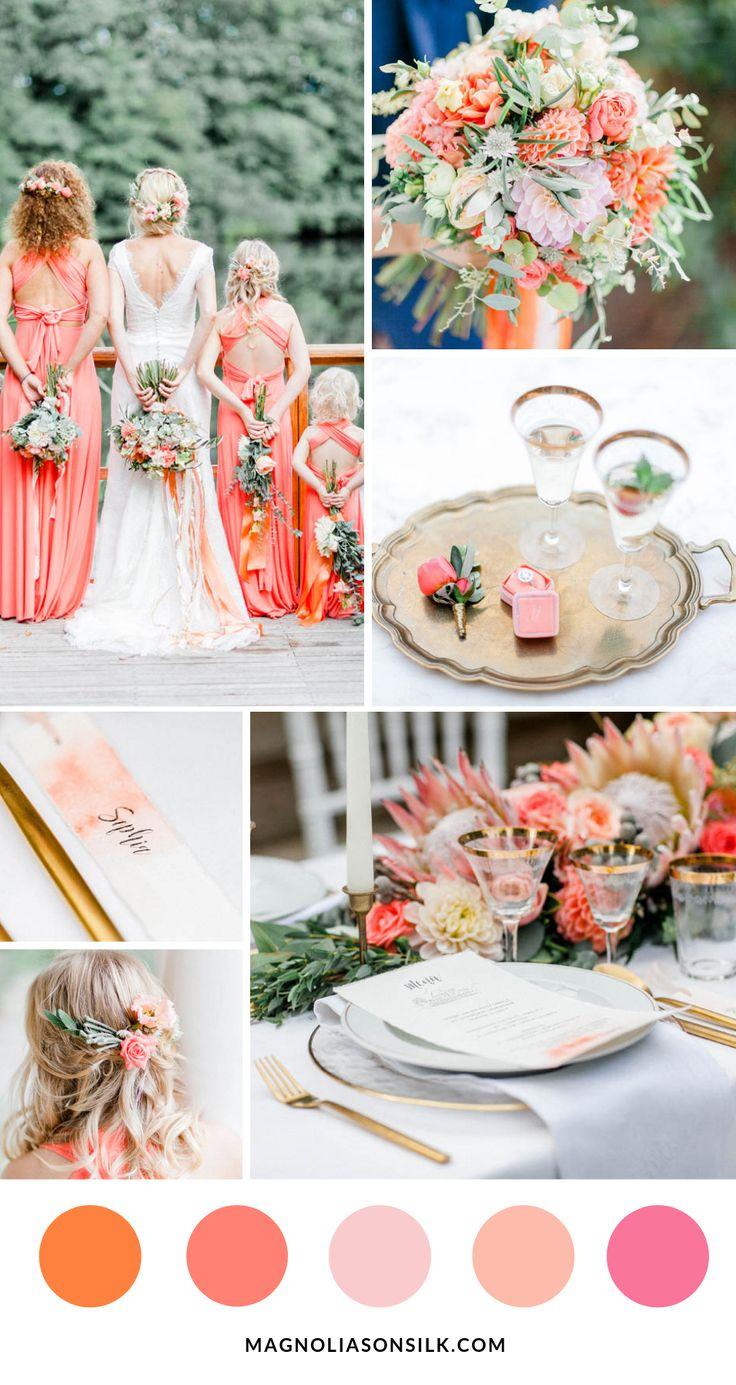 Luxe bruiloftinspiratie in koraal en abrikoos