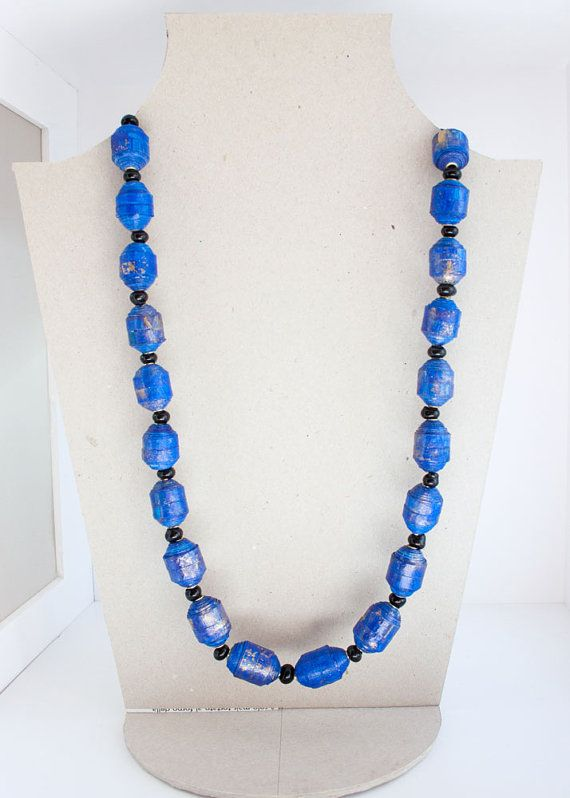 Gold-blue recycled paper necklace: Lapis lazuli