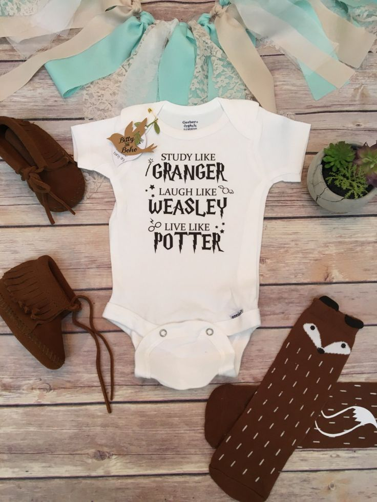 "Harry Potter baby Onesie® (or T-Shirt) Harry Potter baby Onesie® or T-Shirt, unisex style is great for a boy (or girl) with ""Study like Granger, Laugh like Weasley Live like Potter"" written across the"
