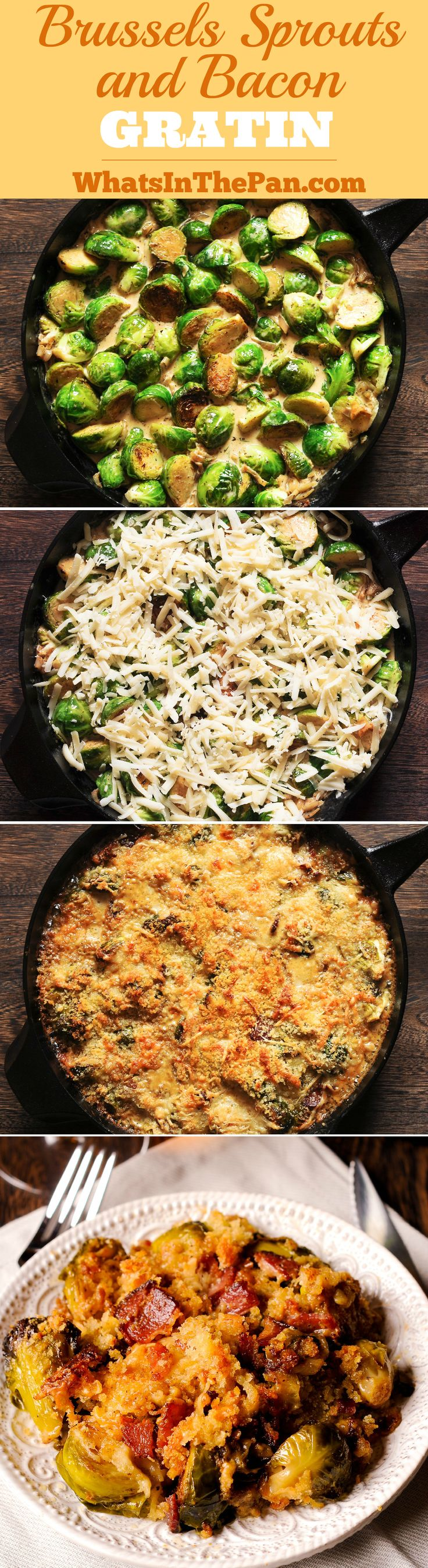 Brussels Sprouts and Bacon Gratin with Gruyère Cheese #Thanksgiving #holidays #sidedish