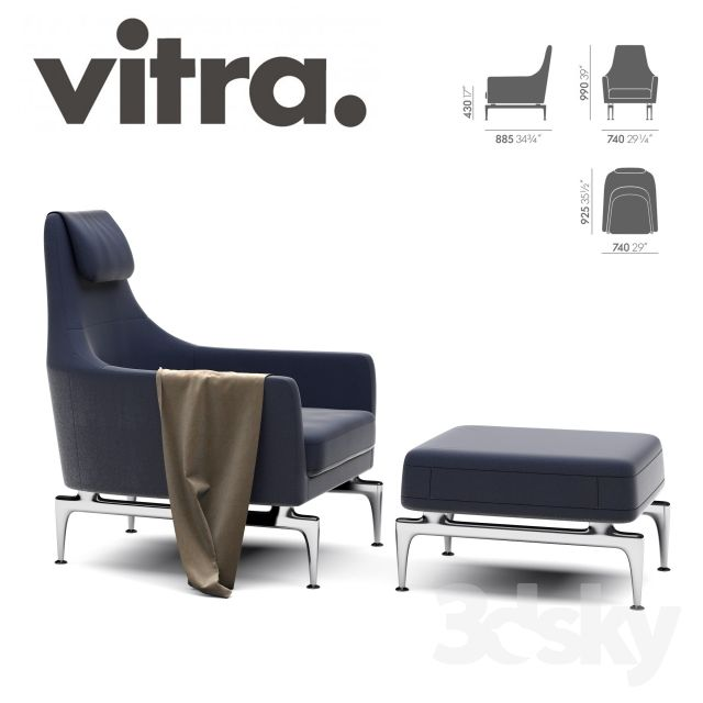 Vitra Suita Fauteuil & Ottoman http://3ddfree.com/chair-2/vitra-suita-fauteuil-ottoman Program: 3dsMax 2012 + obj (Vray) .File Size: 52.42 MB .Description of this 3d model: VITRA SUITA FAUTEUIL LOUNGE by Antonio Citterio (2010) Collection: Suita Dimensions (cm): Height: 99 x Width: 74 x Depth: 89cm Seat Height: 43 Ottoman Dimensions Height: 40 x Width: 60 x Depth: 63cm  suita, vitra