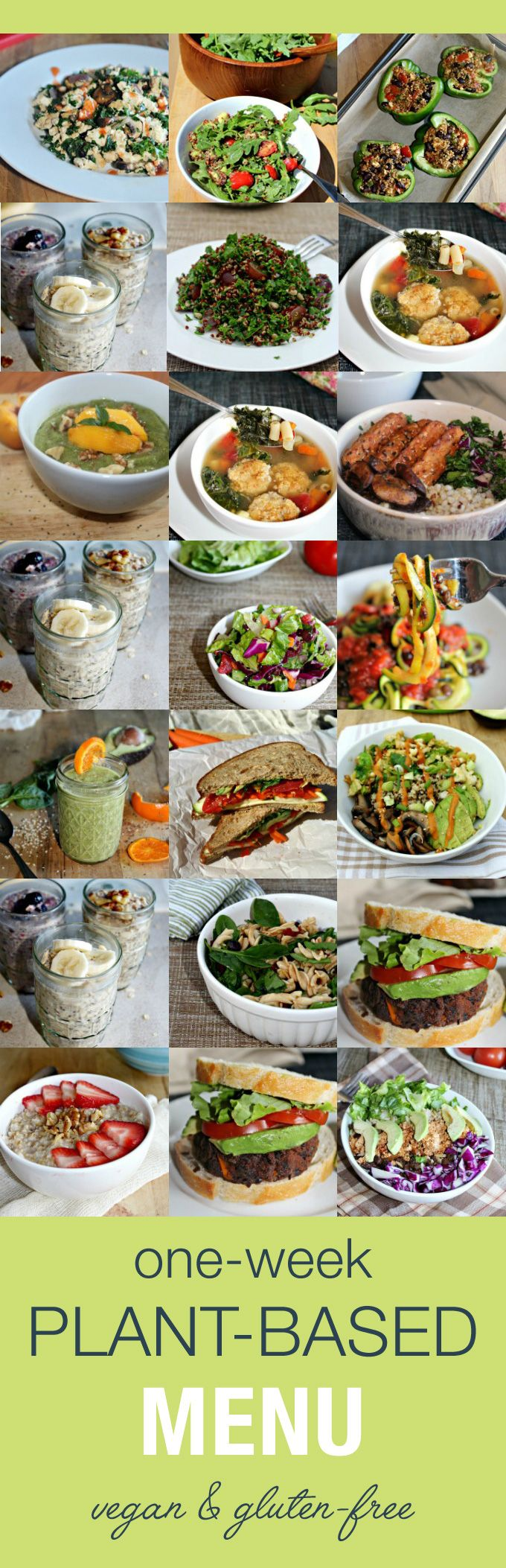 One-Week Plant-Based Menu - a collection of comforting gluten-free vegan meals shared by guest blogger Anne from SimpleandSavory.com