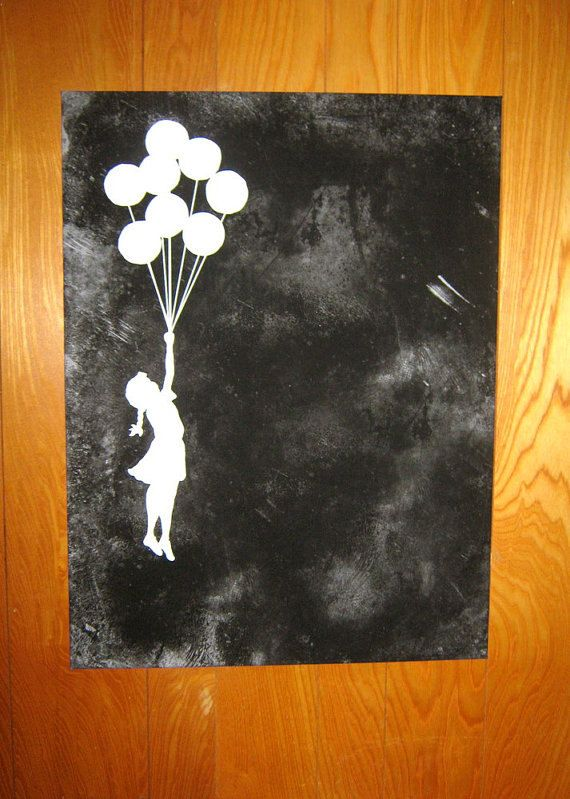 Banksy Canvas READY TO HANG Balloons Black Pick by daveyknew84