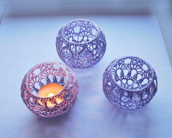 Wedding Table CenterpieceVotive Holders Crochet by Vitalights