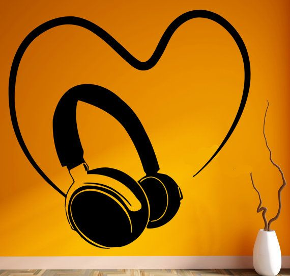 Wall Stickers Vinyl Decal Headphones Music Pop Rock Songs Cool Decor For Living Room (z667)