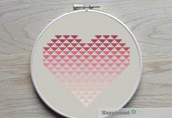 geometric modern cross stitch pattern heart, valentine heart, PDF pattern ** instant download**