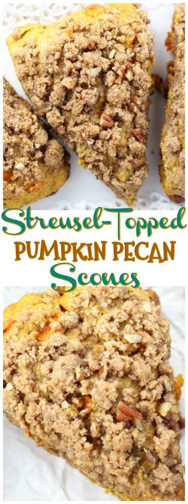 These Pumpkin Pecan Scones are loaded with pecans, and topped generously with buttery brown sugar streusel! The streusel is sent from heaven!