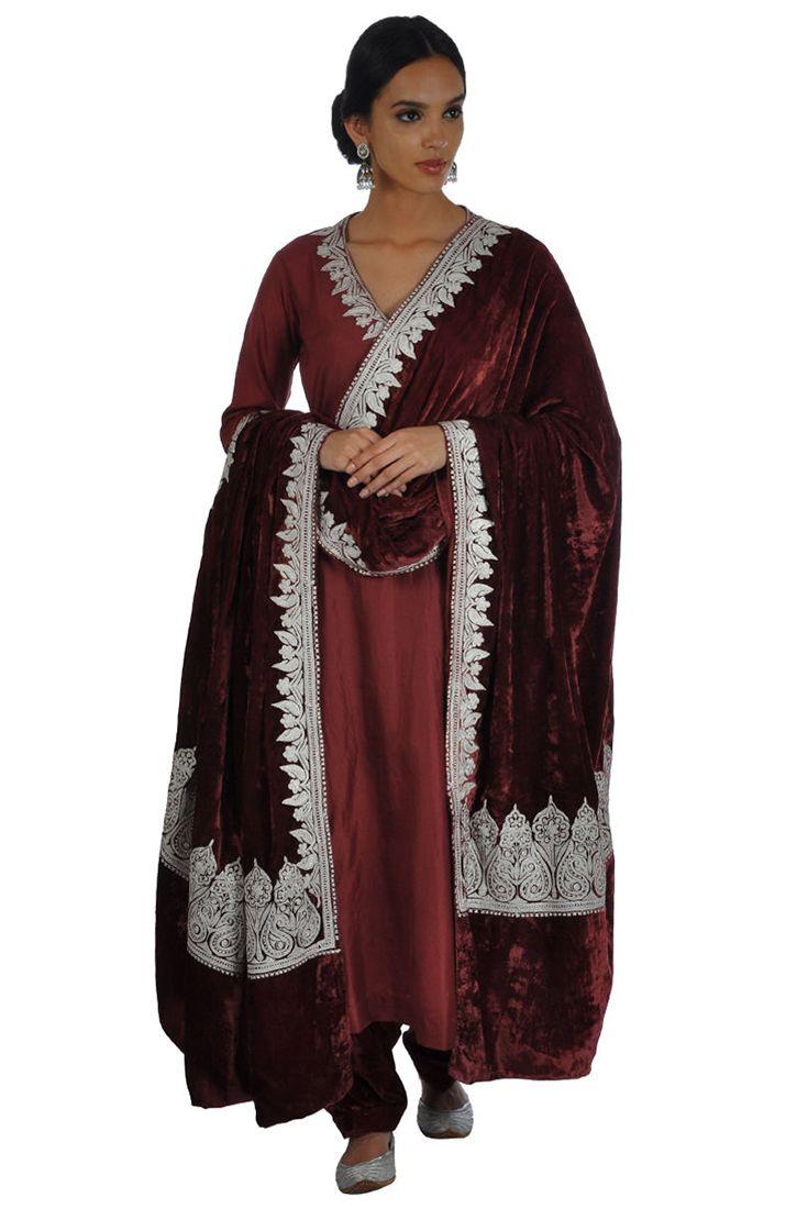 Kashmiri Tilla Aari Embroidered Maroon Silk-Velvet Lehenga Skirt