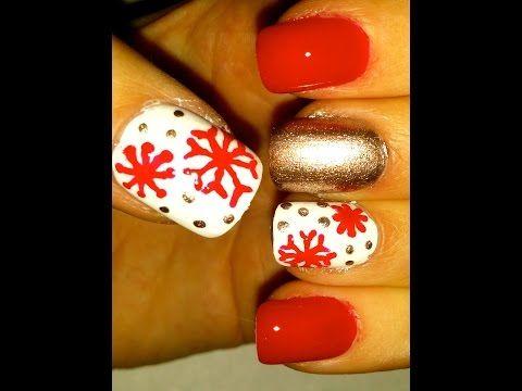 204 best thanksgiving christmas winter nail art video easy christmas nail art tutorial prinsesfo Choice Image