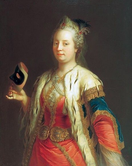 Martin van Meytens: Maria Theresa in Turkish costume holding a mask, c. 1744