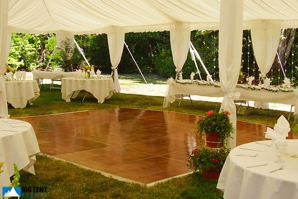 Out door reception with dance floor and canopy. both you can rent