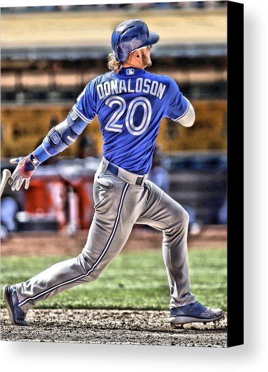 Josh Donaldson Canvas Print featuring the painting Josh Donaldson Toronto Blue Jays by Joe Hamilton