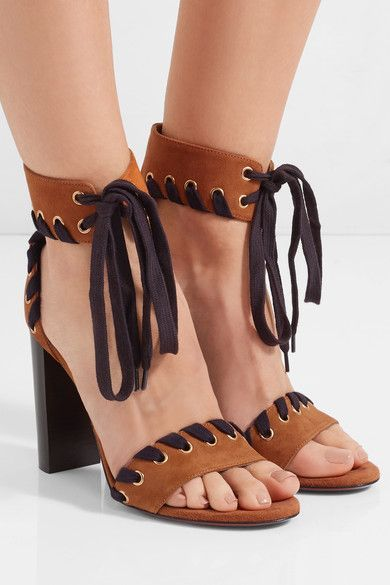 Heel measures approximately 100mm/ 4 inches Tan suede Ties at ankle Designer color: Ochre Made in Italy