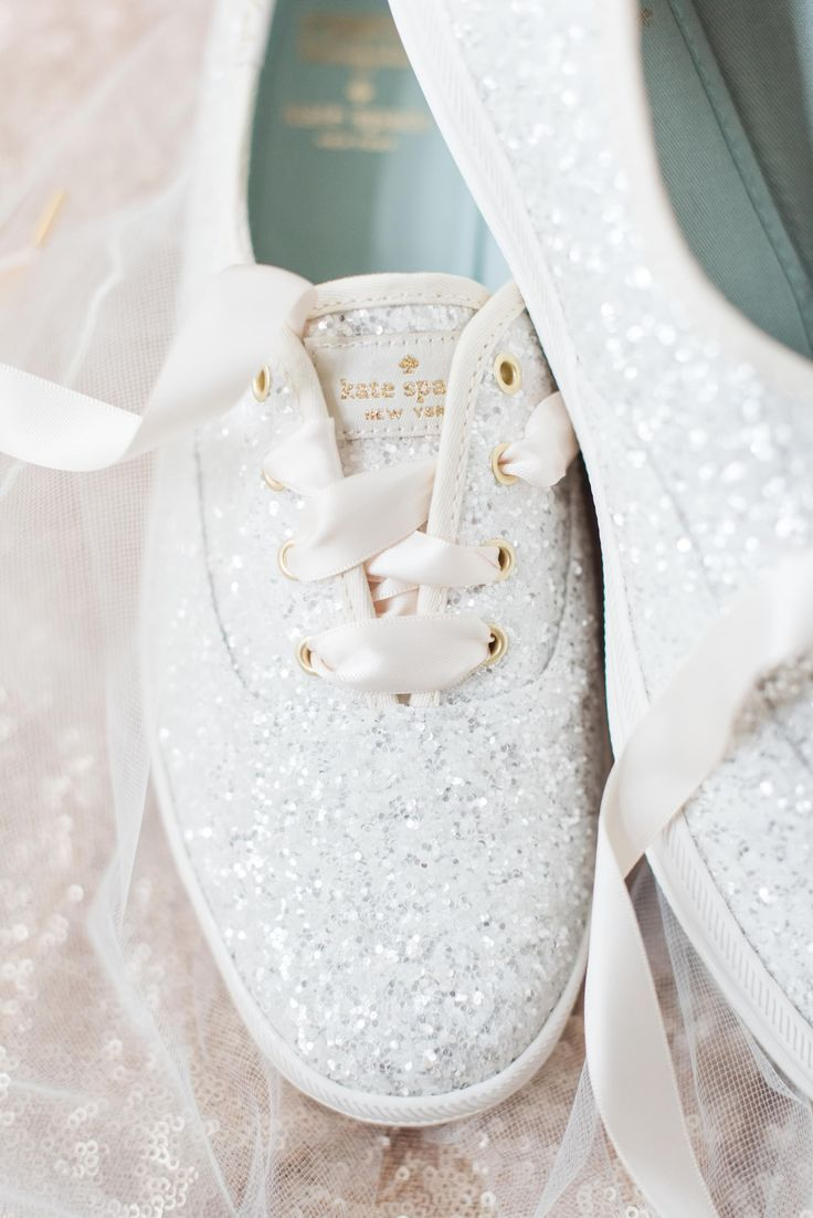 Kate Spade New York, silver sparkles, tennis shoes, wedding sneakers // Madeline J