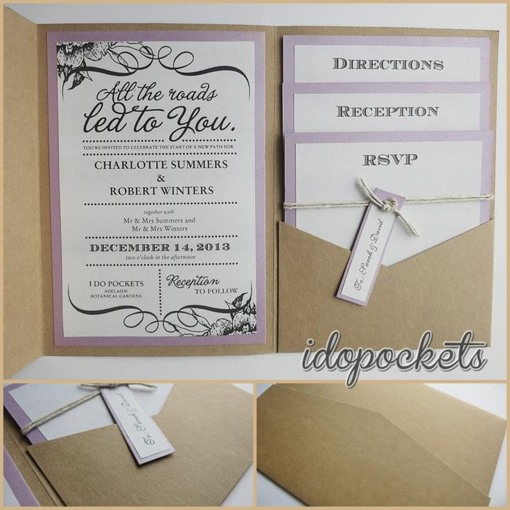 Kraft Wedding Invitations Diy Pocketfold Envelopes Box Vintage Brown Invite