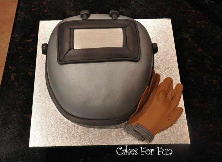 Welders hood grooms cake