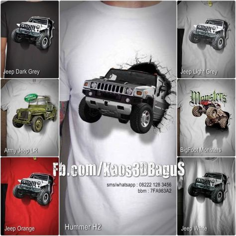 jual kaos jeep, kaos 3 dimensi, kaos komunitas jeep, jeep lover, offroad mania…