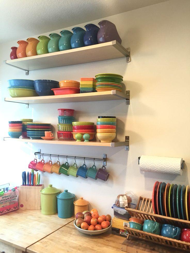 My Fiesta wall of happiness #fiesta #homerlaughlin #rainbow #dishes #happy #fiestaware