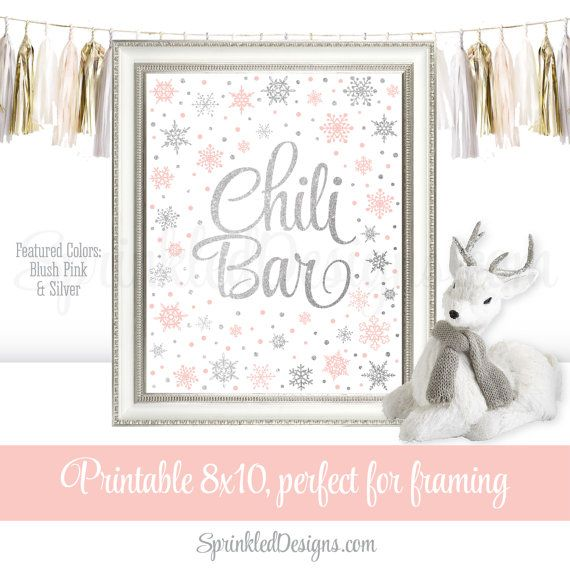 Chili Bar Sign - Winter Onederland Birthday Decorations - Blush Pink Silver Glitter - Winter Baby Shower Decorations Party Decor - 8x10 Sign by SprinkledDesigns.com