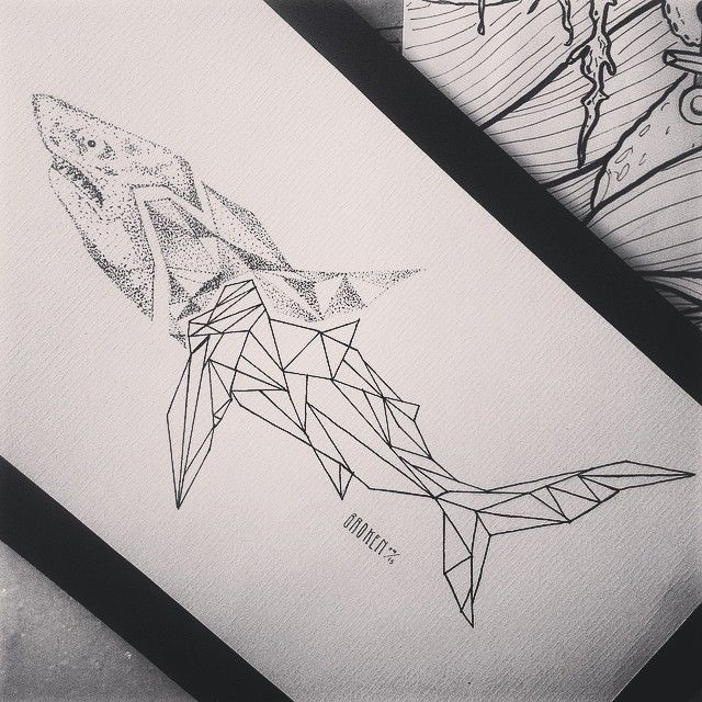Broken Ink Tattoo - Shark tattoo geometric https://instagram.com/broken_tattoo