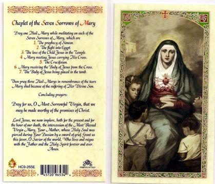 Seven Sorrows of Mary Prayers   Sorrows of Mary Prayer Card