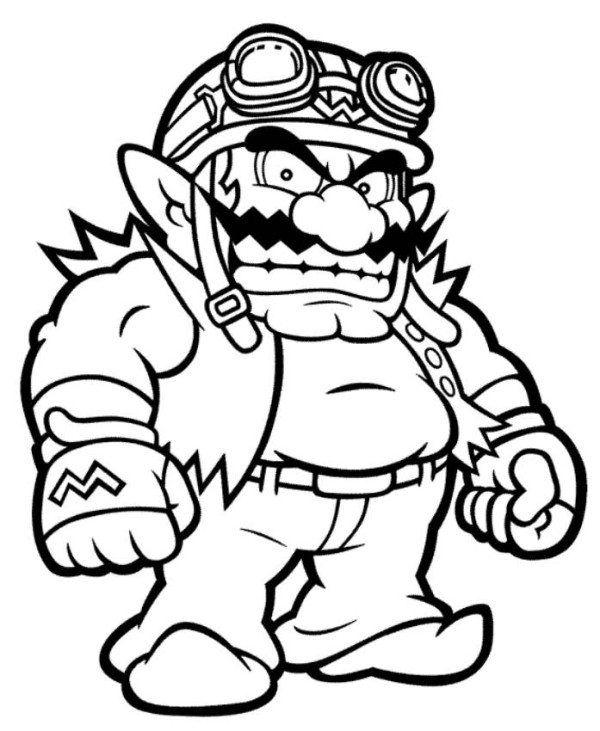 Wario Mario Coloring Page Coloriage Coloriage Mario Livre Coloriage