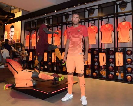 On Tuesday Kevin Strootman was the star attraction at AS Roma's flagship store on Via del Corso, as he met fans and modelled the club's new third kit