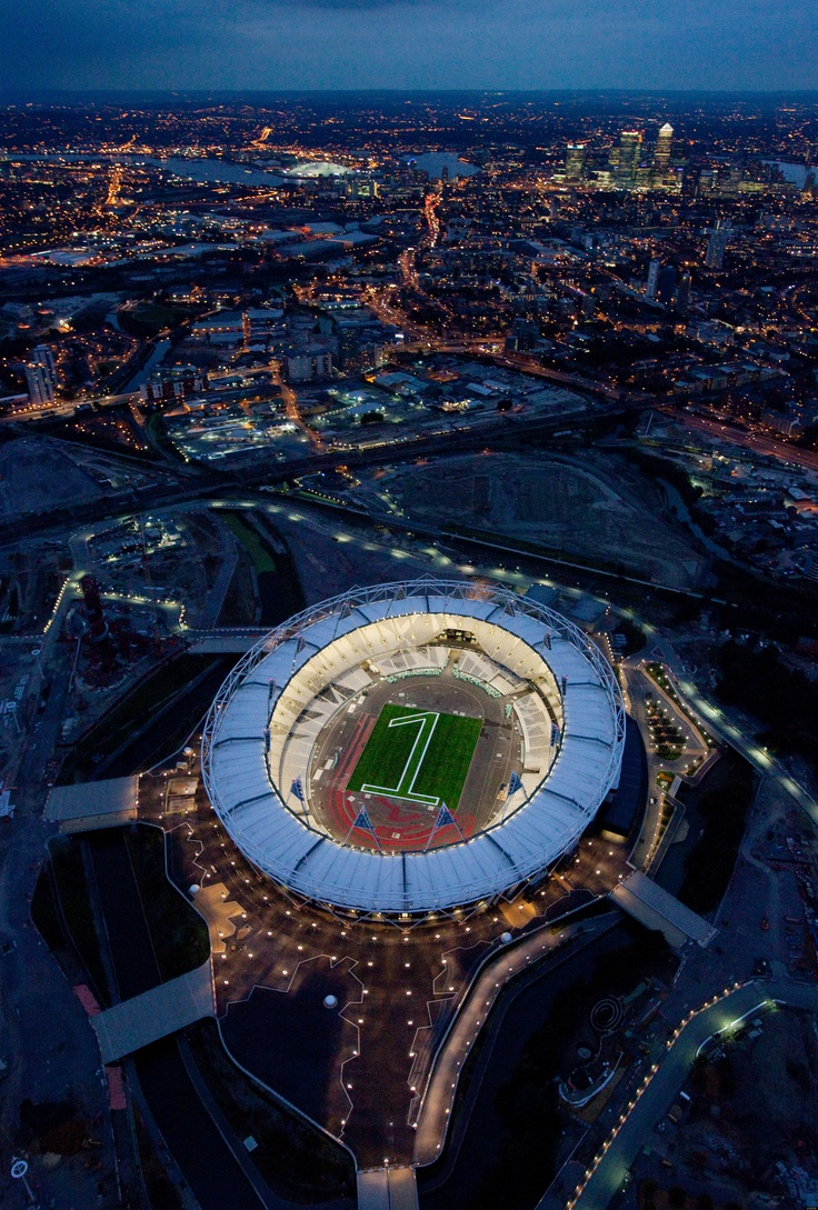 2012 Summer Olympics in London - Great aerial shot of the new Olympic Stadium