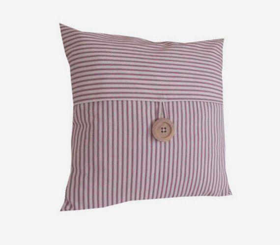 Pillows Decorative Throw Pillows Red Blue Green Tan Ticking