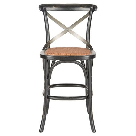 Perfect pulled up to your kitchen island or at home bar, this oak wood-framed stool showcases an open x-shaped back and footrest.    Pr...