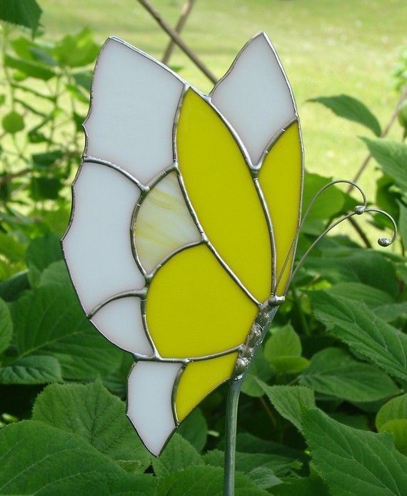 Yellow Butterfly Garden Stake by theglassmenagerie on Etsy, $18.00