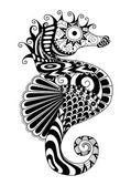 Estilo de zentangle de Caballito de mar dibujado a mano para colorear página del efecto de diseño de camiseta t, tatuaje de la insignia y así sucesivamente — Vector de stock
