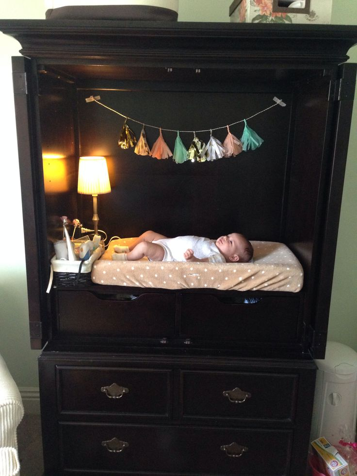 TV Armoire Refurbished Into A Changing Table With Storage   How Cute!
